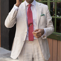 White Linen Men Suit For Wedding 2 Pieces(Jacket+Pants+Tie) Slim Fit Latest Coat Pant Designs Blazer Custom Made Clothes Men 12