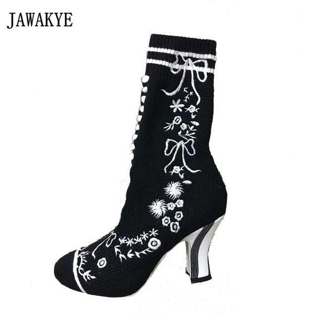 9659306a76d JAWAKYE Fashion Embroidered Knitted Elastic Socks Boots Women Strip Color  matching Chunky High Heels Party Shoes booties