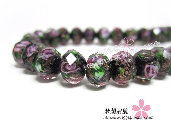 (10 Pieces/lot) 8*6mm Faceted Rondelle Lampwork Glass beads Loose Beads for jewelry making