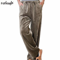 2016 New Autumn Winter Pajama Pants Women And Man Pajamas Muzhskaya Thickening Flannel Pants Women Sleep