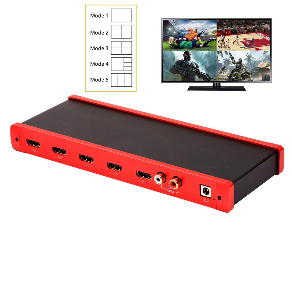 цены TreasLin HDMI 4x1 Quad MultiViewer 1080P 4 in 1 Out 5 Modes with IR Remote for Game/Exhibition Hall/Education/ Surveillance