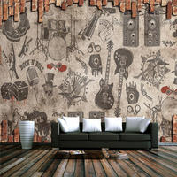 3d Brick Wallpaper Customize Vintage Rock Band Theme Restaurant Large Wall Murals Embossed Non Woven TV