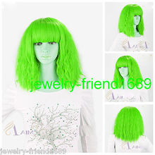 Wholesale heat resistant LY free shipping New wig Cos LADY GAGA Short light Green Fireworks Very