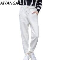 High Quality 2018 Rabbit Velvet Knitted Ankle Length Pants For Women Autumn Winter Warm Middle Waist Harem Pants Female Trousers