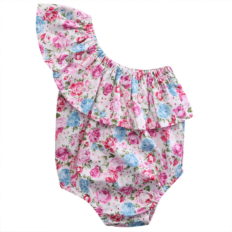 Newborn Rompers Infant Baby Girl Floral Summer Romper Cotton Girls Sleeveless Single Shoulder Jumpsuit Clothes Outfits Sunsuit newborn baby backless floral jumpsuit infant girls romper sleeveless outfit