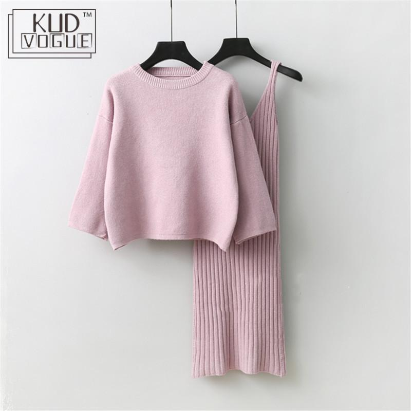 Korean Autumn Lady Sweater + Knitted Sweater Dress Sets Solid Womens Clothing Two-pieces Suits Loose Sweater Sexy Winter Dresses