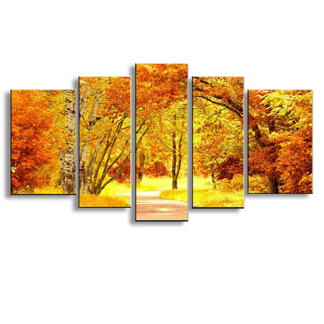 5 pieces high definition print golden fall landscape canvas oil