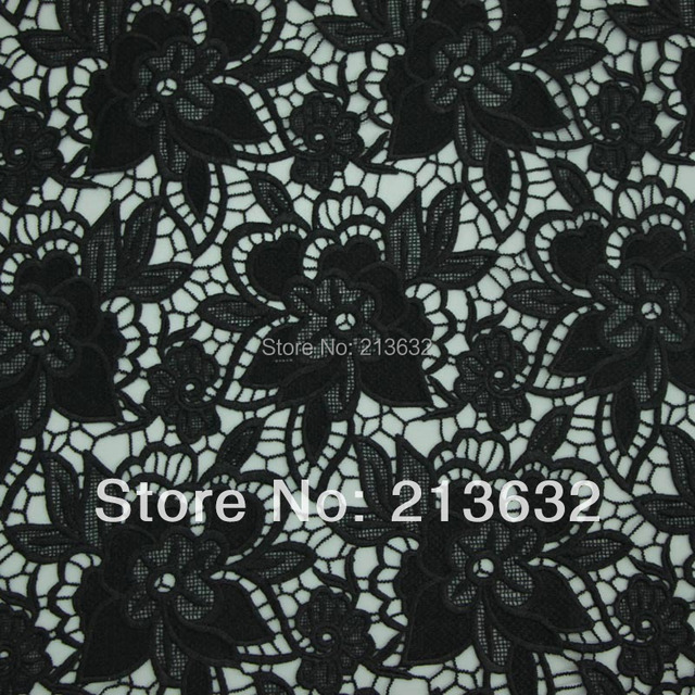 D po17 New high-end water soluble embroidered cloth Computer embroidery lace Full picture of a black fabric manufacturers