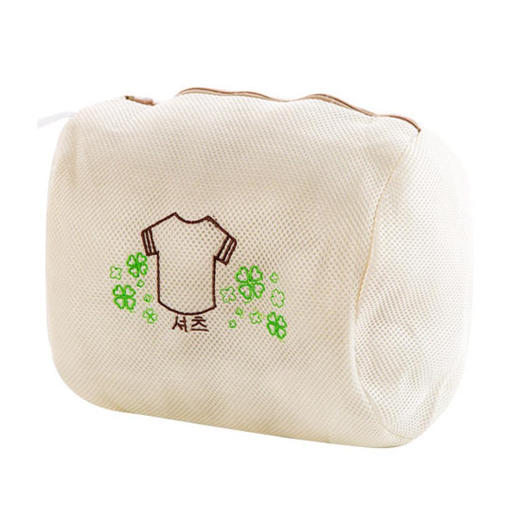 Home Fine Mesh Double Layers Embroidery Washing Machine Geometric Washing Steel Wool Soap Pad Bag Zipper