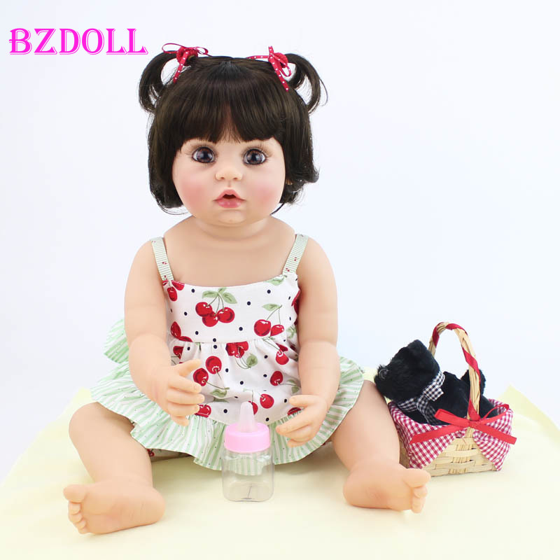Bzdoll 독점 55 cm 전신 실리콘 비닐 다시 태어난 아기 인형 장난감 소녀를위한 독특한 신생아 살아있는 아기 생일 선물-에서인형부터 완구 & 취미 의  그룹 1