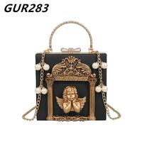 Luxury Evening Clutch Ladies Hand Bags Vintage Angel Frame Leather Handbags women Shoulder Crossbody Bags Summer Messenger Bag