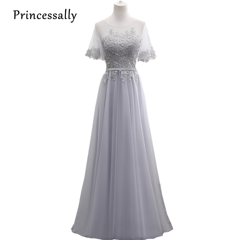 Online buy wholesale long grey bridesmaid dresses from china long vestido de noiva longo elegant long grey bridesmaid dresses for wedding banquet lace embroidery imported prom ombrellifo Images