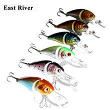 6 Piece wobblers Fishing Lure Minnow Crank Bait 14G-8.5CM Hard Plastic 2 Sections Crankbait 6# Hook Bait Fishing Tackle