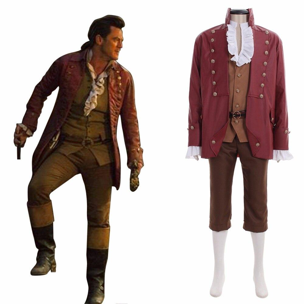Faite sur la belle et La Bête Gaston Cosplay Costume Adut Halloween Fantaisie Partie Veste Gilet Chemise Pantalon Costume L0516