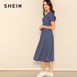 Image 3 - SHEIN Button Front Allover Print V Neck Dress Women 2019 Posh Summer Burgundy A Line Short Sleeve Fit and Flare Dresses