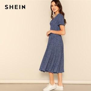 Image 3 - SHEIN przycisk przodu Allover drukuj sukienka z dekoltem w serek kobiety 2019 Posh lato burgundii linii krótkim rękawem Fit i rozkloszowane sukienki