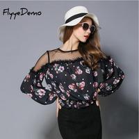 FlyyeDemo Mesh Patchwork Floral Printed Bluse Frauen Tops 2018 Neue Mode O Neck Volle Hülse Spitze Chiffon Bluse Shirt Frauen