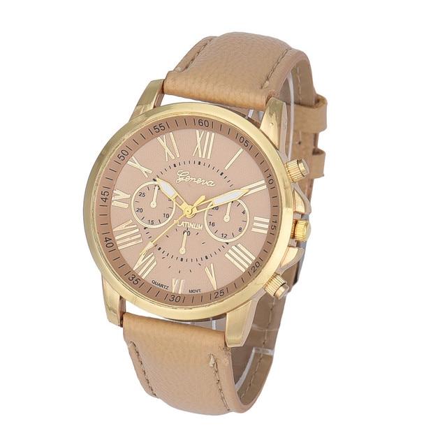 8b4193fb8d4 Nuevas mujeres de moda relojes Ginebra números romanos Faux cuero Relogio  feminino cuarzo beige Bayan SAAT