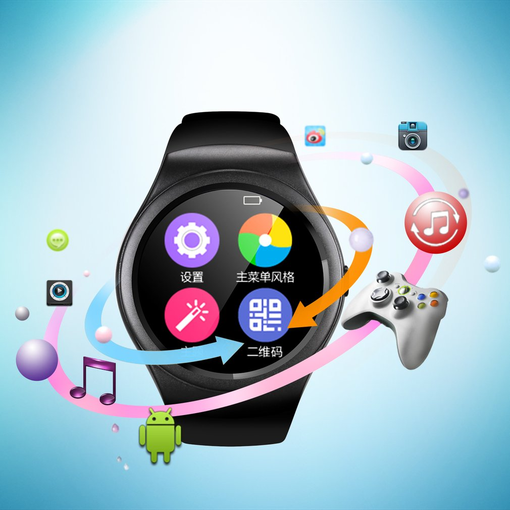 Multifunctional K8 Bluetooth Smart Watch 1.3 Inch IPS Touch Screen Watch Sport Fitness Pedometer Support SIM TF Card