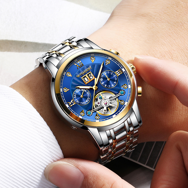 WISHDOIT New Men Watch Mechanical Tourbillon Luxury Fashion Stainless Steel Sport Watches Mens Automatic Watch Relogio Masculino 1