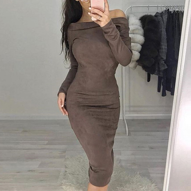 31d4784a7365 Women Suede Autumn Winter Off Shoulder Evening Party Long Sleeve Retro  Mid-calf Bodycon
