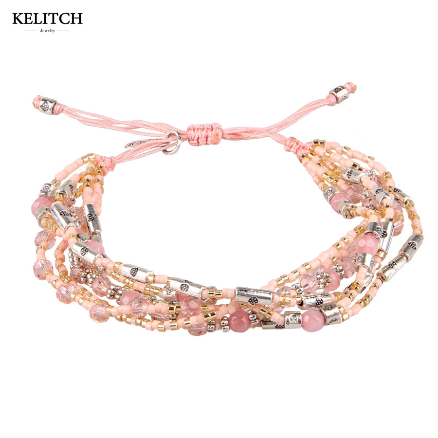 KELITCH bracelets Bohemian Jewelry Multicolor Woven Seed Bead & Pink Coral Crystal Bracelet Adjustable Handmade Strand Bracelets рубашка мужская greg horman цвет белый 2 171 20 1469 размер 38 44 46