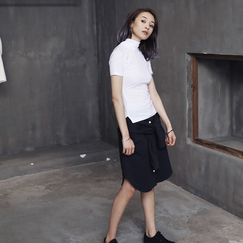[EAM] Women White Brief Vent Cool High Elastic T-shirt New Turtleneck Short Sleeve  Fashion Tide  Spring Summer 2020 JL447 2
