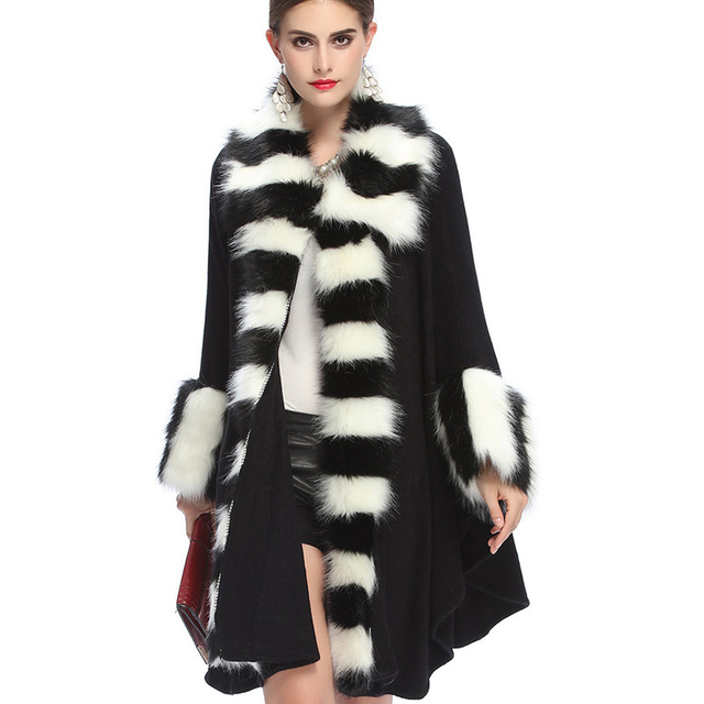 Aliexpress.com : Buy Black Cape Coat Batwing Sleeve Striped Cuff ...