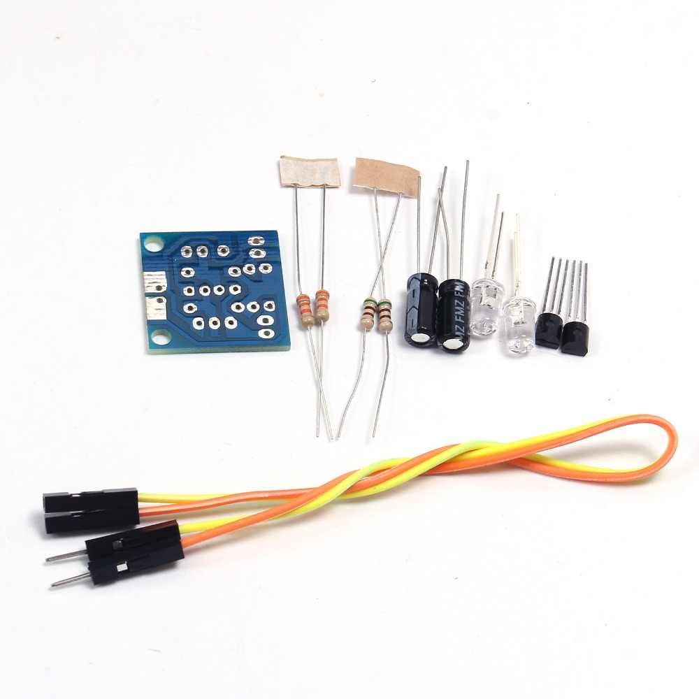 Detail Feedback Questions About 10pcs Lot Diy Kit Simple Flash Led Blinking Circuit With A Capacitor Transistor And Two Resistors Light Flashing Board Kits