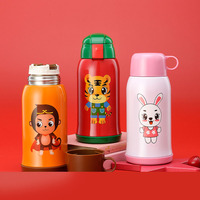 600ml Thermos Children's Cup Animal Cartoon Double Wall Stainless Steel Vacuum Flasks Gift For Kids School Outdoor Water Bottle