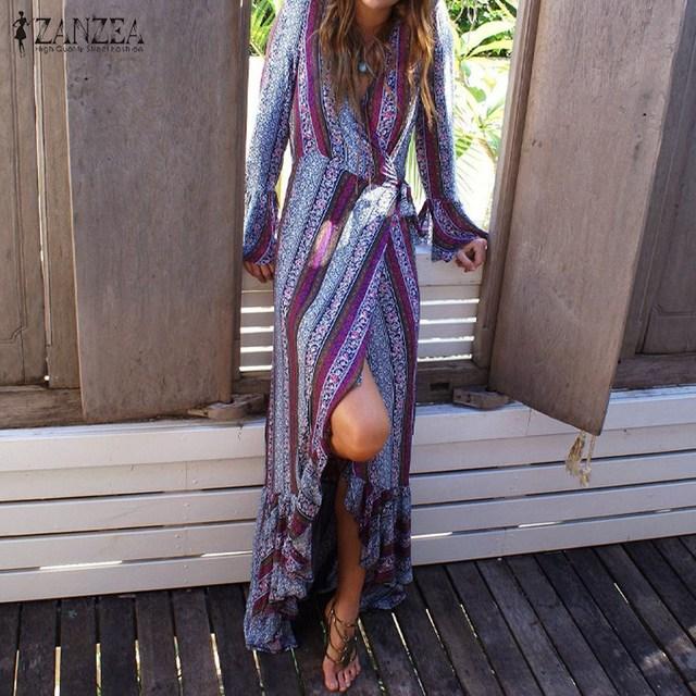Plus size 2017 zanzea mulheres praia da cópia do vintage longo maxi dress ladies casual solto manga comprida v neck ruffles vestidos vestidos