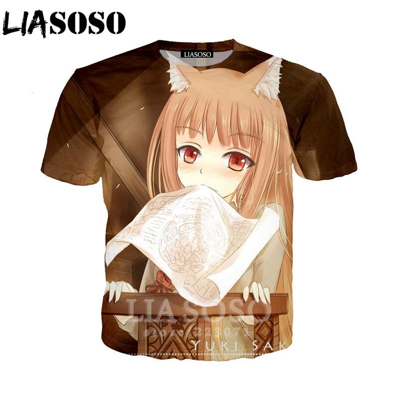 LIASOSO D'été Nouveau Hommes Femmes Mode Sweat 3D Impression Anime Spice and Wolf À Manches Courtes T-Shirt Unisexe Top Pull A190-01