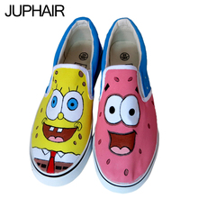 JUP Womens Children Girls Boys Hand Painted Canvas Shoes Low To Help Students With Spongebob Flag Pattern Dragonfly Rabbit Shoes