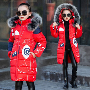 Image 2 - Liakhouskaya 2018 Childrens Clothing Winter Fur Jacket For Girls 12 years Old Warm Hooded Thick Cotton Padded Long Solid Coat