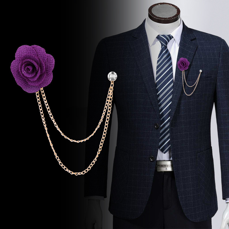 65cc31e2b Trendy Fabric Flower Camellia Chain Tassel Pins Brooches Men's Suit Collar Lapel  Brooch Pin Men Wedding