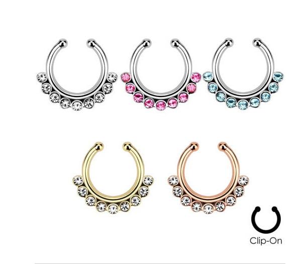2015 Limited Ear Plugs Piercing Navel U Shape Nose Rings Fake Navel Piercing Septum Ring Body Jewellery Clip Pircing Lip Nariz