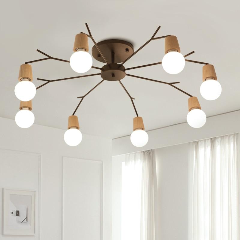 Modern ceiling Chandelier Living Room hanging Lights North European Iron Art Solid Wood suspension Lamps Lanterns home LED Light