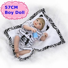 NPK 57cm About 22″ Full Body Silicone Reborn Baby Doll Realistic Baby Boy Doll With New Striped Clothing Girls Play House Toys