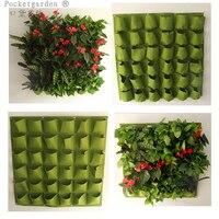 Pocketgarden Large 36 Pockets Hanging Flower Pot Polyester Wall mounted Vertical Gardening Flower Pot Planting Bag Indoor A