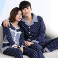GOPLUS 2016 Autumn cotton Couple Pajamas Set pajamas Indoor Clothing Home Suit Sleepwear Men Lady Casual Home Clothing feminino
