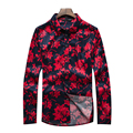 2016 Новый Высокое Качество Плюс Размер рубашки С Длинными Рукавами Цветочные печать Футболки camisa masculina Мужчины Мода Slim Fit Рубашки рубашки