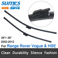 "Wiper blades for Range Rover Vogue / HSE (2002-2012) 26""+26"" fit side latch wiper arms only"