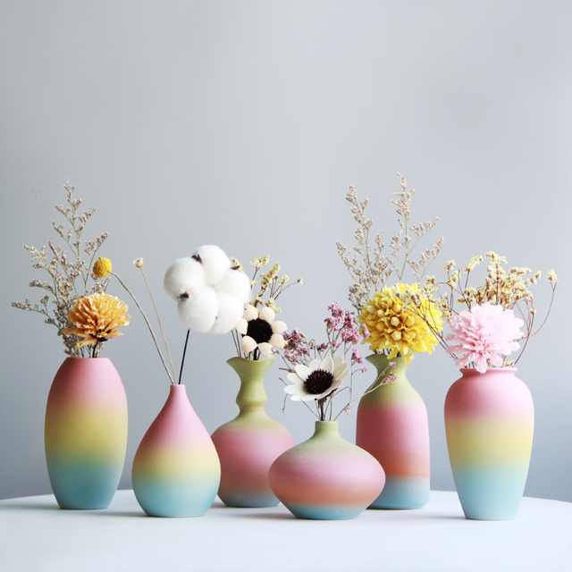 Modern Rainbow Prints Vase Colorful Ceramic Flower Vase 6 Design Desktop Mini Vase Home Decorative Centerpiece 2