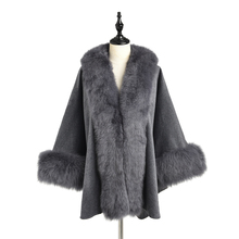 TOPFUR 2019 New Fashion Winter Female Cape Real Fur For Women Three Quaeter Fox Outerwear Bat Sleeved V-Neck Gray