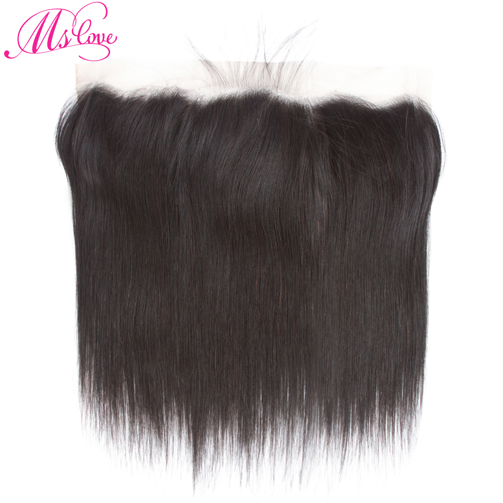 Closure Straight Human-Hair Lace-Frontal Ear-13x4inch Non-Remy Pre-Plucked Brazilian title=