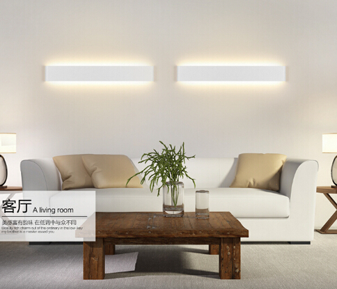 long aluminum led wall lamp black/white living room bed ...