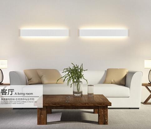 Long Aluminum Led Wall Lamp Black White Living Room Bed Bathroom Mirror Light 6w