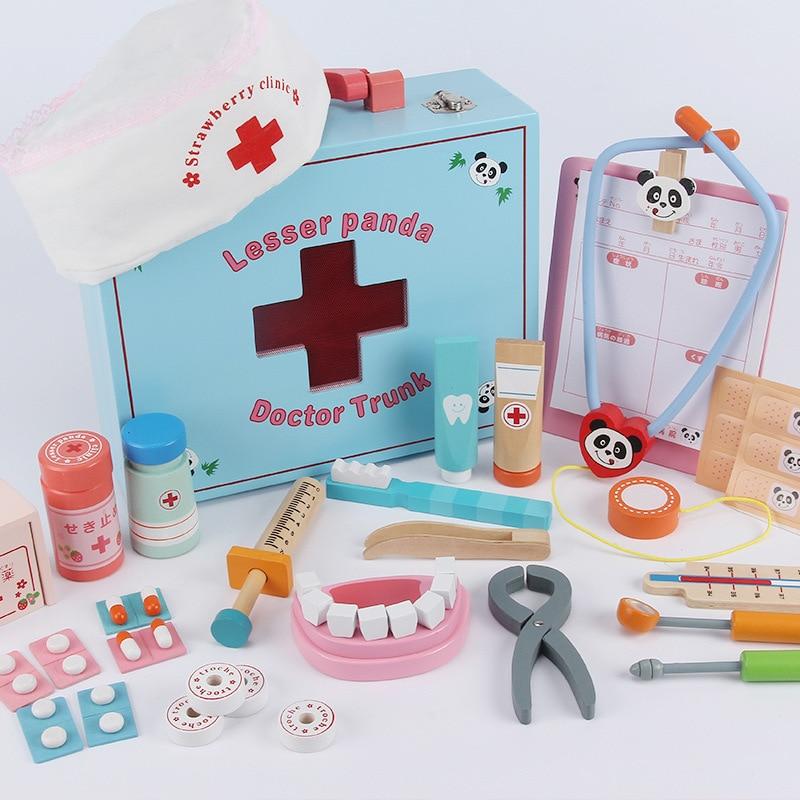 Jeu de jouets de docteur en bois pour enfants petit outil d'injection d'infirmière boîte médicale de dentiste simulée en bois