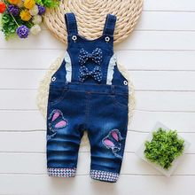 Kids Boys Girls Trousers for Toddler Cartoon Longs Jeans Baby Pants Denim Infant Overalls 2018 Autumn Little Children Bib Pants(China)