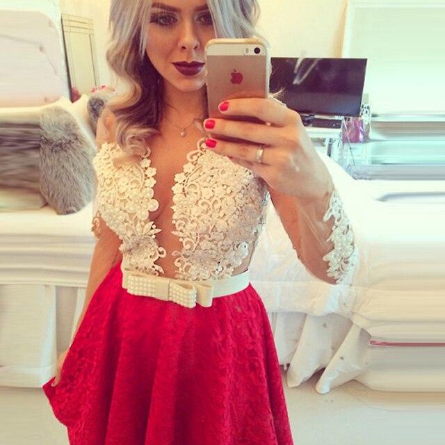 af435197a Vestidos Fiesta 2015 vestido corto De baile A-Line del cordón del partido  blanco +